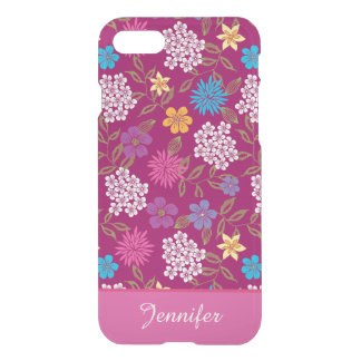 Girly Spring and Summer Wild Flowers, magenta name iPhone 8/7 Case