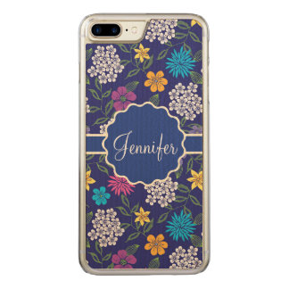 Girly Spring and Summer Wild Flowers, on blue name Carved iPhone 8 Plus/7 Plus Case