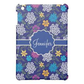 Girly Spring and Summer Wild Flowers, on blue name Case For The iPad Mini