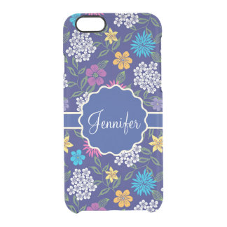 Girly Spring and Summer Wild Flowers, on blue name Clear iPhone 6/6S Case