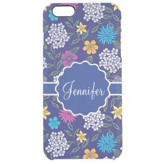 Girly Spring and Summer Wild Flowers, on blue name Clear iPhone 6 Plus Case