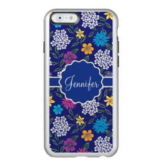 Girly Spring and Summer Wild Flowers, on blue name Incipio Feather® Shine iPhone 6 Case