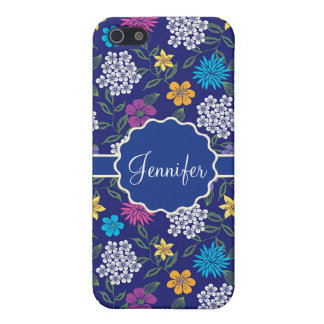 Girly Spring and Summer Wild Flowers, on blue name iPhone 5/5S Cover