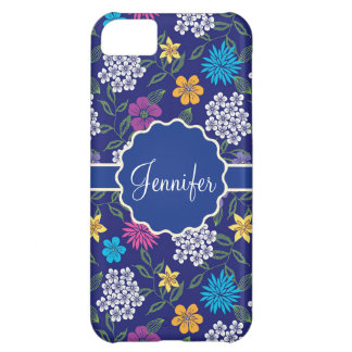 Girly Spring and Summer Wild Flowers, on blue name iPhone 5C Case
