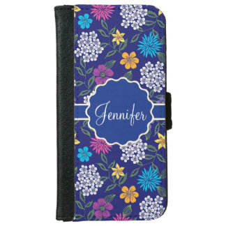 Girly Spring and Summer Wild Flowers, on blue name iPhone 6 Wallet Case