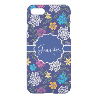 Girly Spring and Summer Wild Flowers, on blue name iPhone 8/7 Case