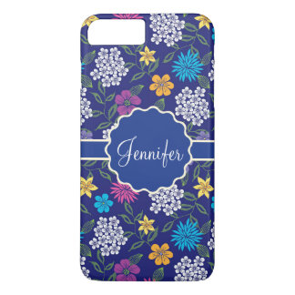 Girly Spring and Summer Wild Flowers, on blue name iPhone 8 Plus/7 Plus Case