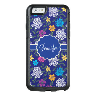 Girly Spring and Summer Wild Flowers, on blue name OtterBox iPhone 6/6s Case