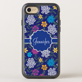 Girly Spring and Summer Wild Flowers, on blue name OtterBox Symmetry iPhone 8/7 Case