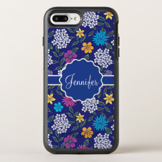 Girly Spring and Summer Wild Flowers, on blue name OtterBox Symmetry iPhone 8 Plus/7 Plus Case