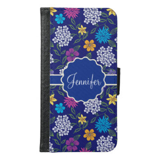 Girly Spring and Summer Wild Flowers, on blue name Samsung Galaxy S6 Wallet Case