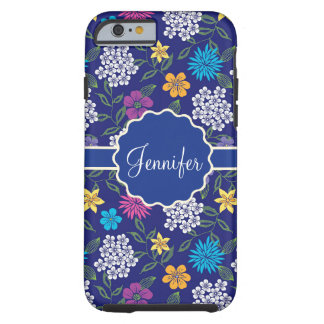 Girly Spring and Summer Wild Flowers, on blue name Tough iPhone 6 Case