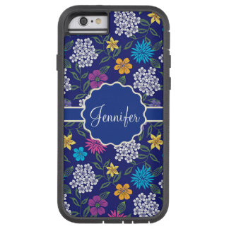 Girly Spring and Summer Wild Flowers, on blue name Tough Xtreme iPhone 6 Case