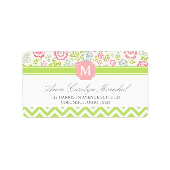 Girly Spring Floral Chevron Personalised Monogram Address Label