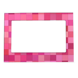 Girly squares picture frame magnet