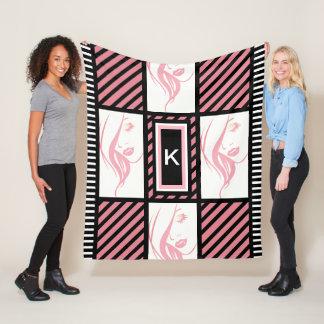 Girly Stripes Fleece Blanket