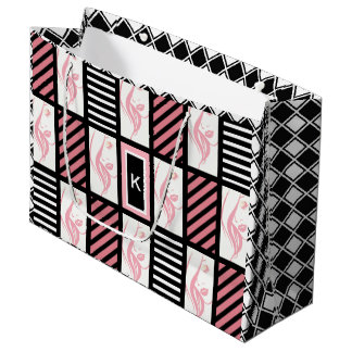 Girly Stripes Personalized Large Gift Bag