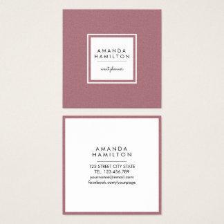 Girly Stylish Fashion ROSE GOLD + white square Square Business Card