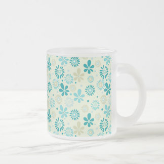 Girly Stylish Teal Blue Daisy Floral Pattern Frosted Glass Mug