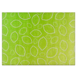girly summer fresh green yellow lemon pattern cutting board