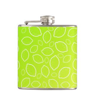 girly summer fresh green yellow lemon pattern hip flask
