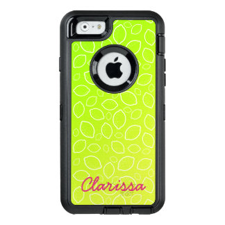 girly summer fresh green yellow lemon pattern OtterBox defender iPhone case