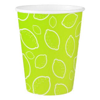 girly summer fresh green yellow lemon pattern paper cup