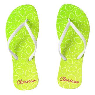 girly summer fresh green yellow lemon pattern thongs