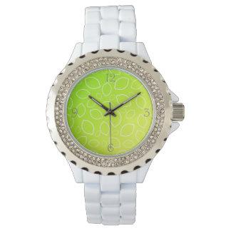 girly summer fresh green yellow lemon pattern watch