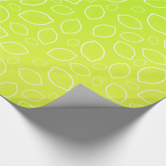 girly summer fresh green yellow lemon pattern wrapping paper