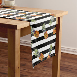 Girly Summer Pineapple Pattern | Black Striped Short Table Runner