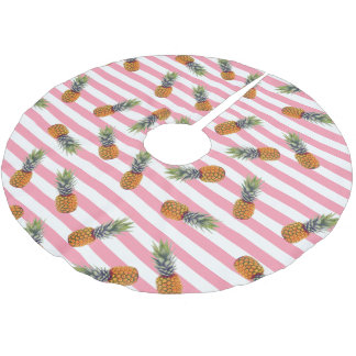 Girly Summer Pineapple Pattern | Pink Striped Brushed Polyester Tree Skirt