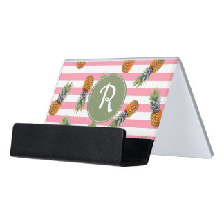 Girly Summer Pineapple Pattern | Pink Striped Desk Business Card Holder