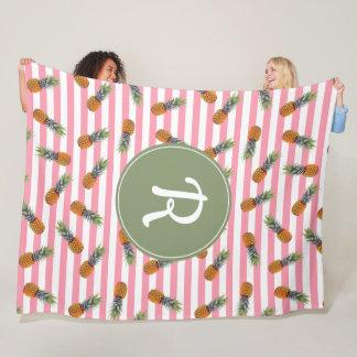 Girly Summer Pineapple Pattern | Pink Striped Fleece Blanket