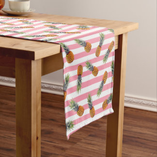 Girly Summer Pineapple Pattern | Pink Striped Short Table Runner