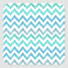 Girly Summer Sea Teal Turquoise Glitter Chevron Square Sticker