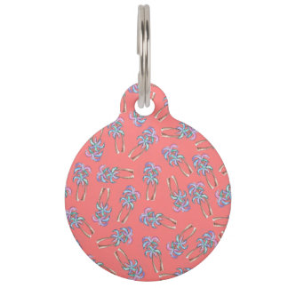 Girly Summer Tropical Palm Trees Pattern on Coral Pet ID Tag