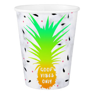 girly summer tropical pineapple white marble paper cup
