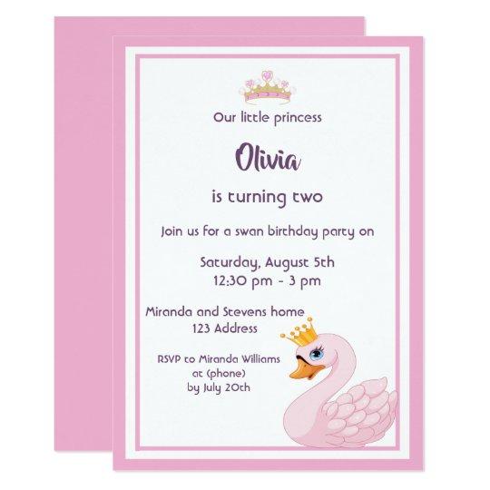 Girly Swan 2nd Birthday Party Invitation Card