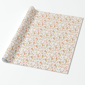 Girly Sweet Honey Flowers Coral Pink Floral Wrapping Paper