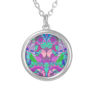 girly swirls abstract pattern silver plated necklace