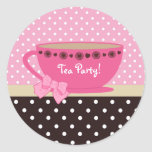 Girly Tea Party Pink And Brown Polka Dots Stickers