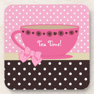 Girly Tea Time Teacup Pink and Brown Polka Dot Bow Coaster