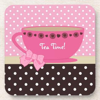 Girly Tea Time Teacup Pink and Brown Polka Dot Bow Coaster
