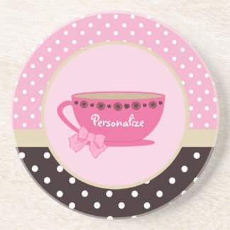 Girly Teacup Pink and Brown Polka Dot Bow and Name Drink Coaster