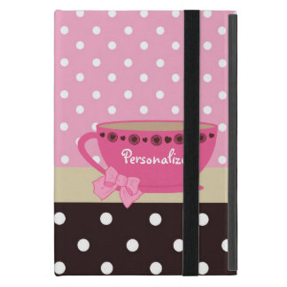 Girly Teacup Pink and Brown Polka Dot Bow and Name iPad Mini Cover