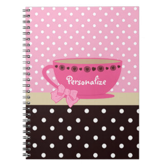 Girly Teacup Pink and Brown Polka Dot Bow and Name Notebook