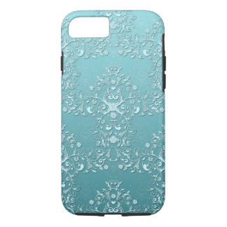 Girly Teal Damask Aqua iPhone 7 case