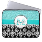Girly, Teal, Glitter Black Damask Personalised Laptop Sleeve