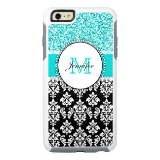 Girly, Teal, Glitter Black Damask Personalised OtterBox iPhone 6/6s Plus Case